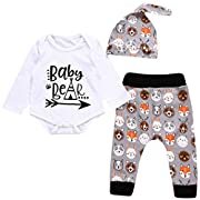 Unisex Toddler Infant Newborn Girl Boy Baby Bear Romper Cute Animal Pants 3pcs Outfits Set (0-6 Months, White)