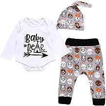 Unisex Toddler Infant Newborn Girl Boy Baby Bear Romper Cute Animal Pants 3pcs Outfits Set