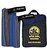 Wise Owl Outfitters Camping Towel & Gym Towel - Ultra Soft Compact Quick Dry Microfiber Best Fast Drying Fitness Beach Hiking Yoga Travel Sports Backpacking - LG RBlue