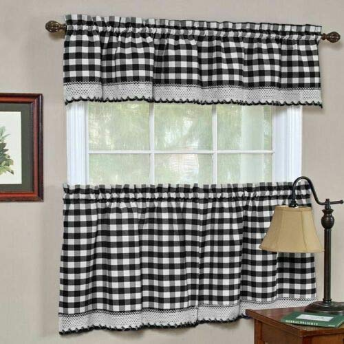 Black White Gingham Checkered Plaid Kitchen Tier Curtain Valance Set Duck River