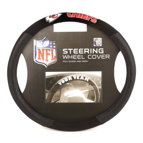 Fremont Die NFL Kansas City Chiefs Poly-Suede Steering Wheel - Mesh Football Steel Jersey