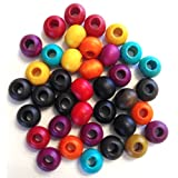 Wood Beads Assorted Colors 9.5 mm - Pack Of 100