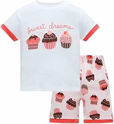 bb7412e06 Cczmfeas Girls Pajamas Little Kid Shorts Set Cotton Clothes Pjs Size 2Y-7Y