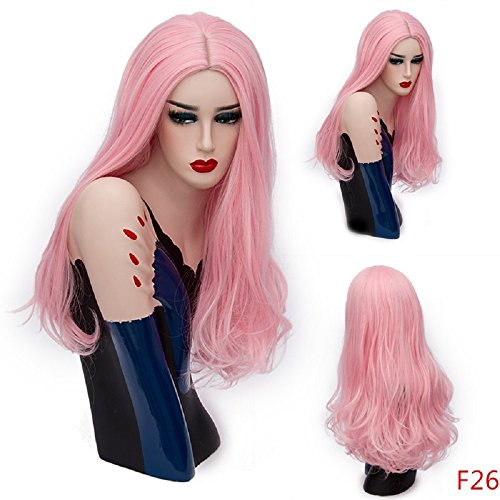 Synthetic Wigs Halloween Long Big Wavy Curly Hair Pink Colorful Fiber for Costume Party& Fancy Dress 26 (Fancy Dress Store Near Me)