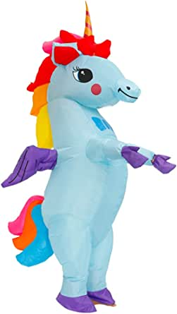 Kooy Inflatable Unicorn Costume Fancy Costume Halloween Party Cosplay Fantasy Blow up Costumes Adult Blue