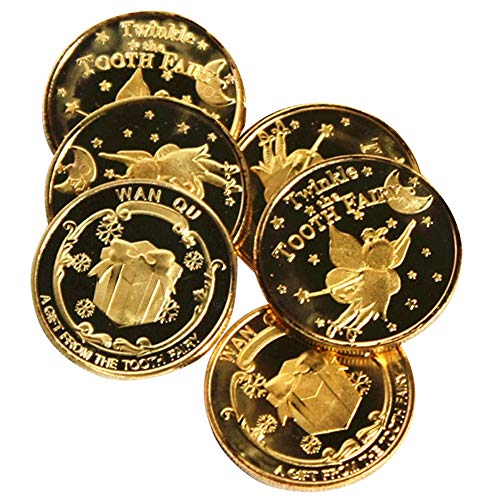 Exttlliy Zinc Alloy Novelty Tooth Fairy Gold Coin Baby Toy Reward Golden Coins Special Fairy Money (6 - Set Coin Fairy