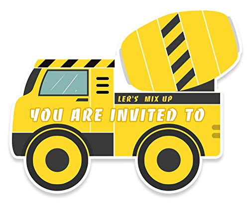 30 Construction Dump Trucks Birthday Party Invitations with Envelopes-Double Sided -Shaped Fill-in Invitations-Kids Birthday Party Invitations for Boys]()