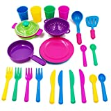 Holy Stone Pretend Play Kitchen set for Kids, 27 Pcs Tableware Dishes Playset with Drainer for Kids Playset