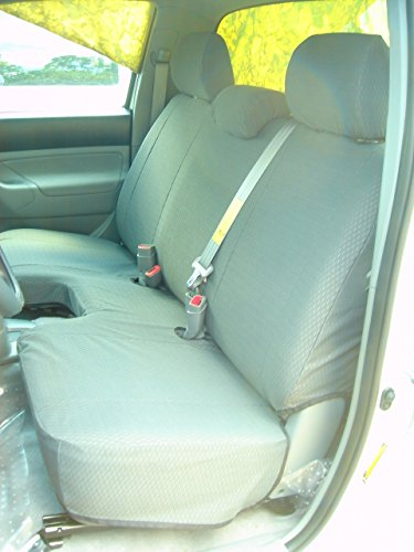 Durafit Seat Covers, T918-D8-Toyota Tacoma Regular Cab Bench Seat Custom Seat Covers in Dark Gray Automotive Twill