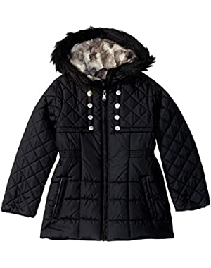 Girls Quilted Cozy Trimmed Hooded Jacket Coat