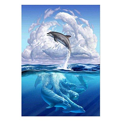 Whitelotous 5D DIY Diamond Painting Dolphin Cross Stitch Crystal Needlework Diamond Embroidery