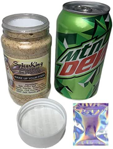Fake Seasoning Salt and Mountain Dew Soda Safe Diversion Secret Stash Safes with Hidden Storage to Hide Money Jewelry Anything with Free Smell Proof Mylar Bag