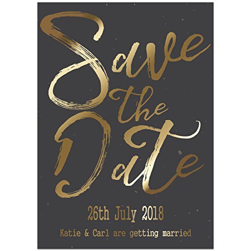 Wedding Invitations Handmade Paper (Black Gold Save the Date Card Wedding Invitation)
