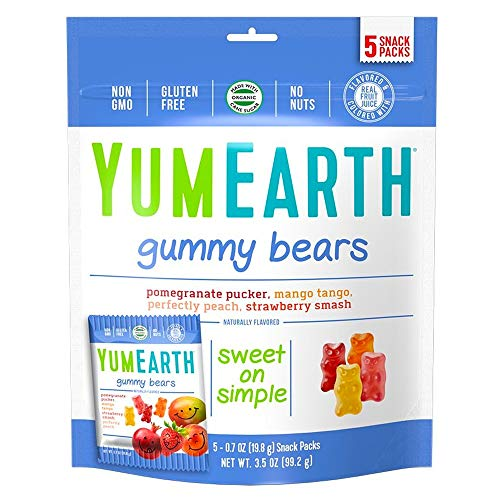 YumEarth Gummy Bears, Assorted Flavors, 5 Snack Packs -