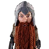 Beard Head Dwarf Warrior Beard Beanie - Epic Knit Dwarf Helmet and Fake Beard Brown