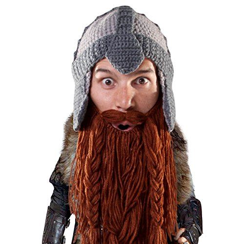Beard Head Dwarf Warrior Beard Beanie - Epic Knit Dwarf Helmet w/Fake Beard -