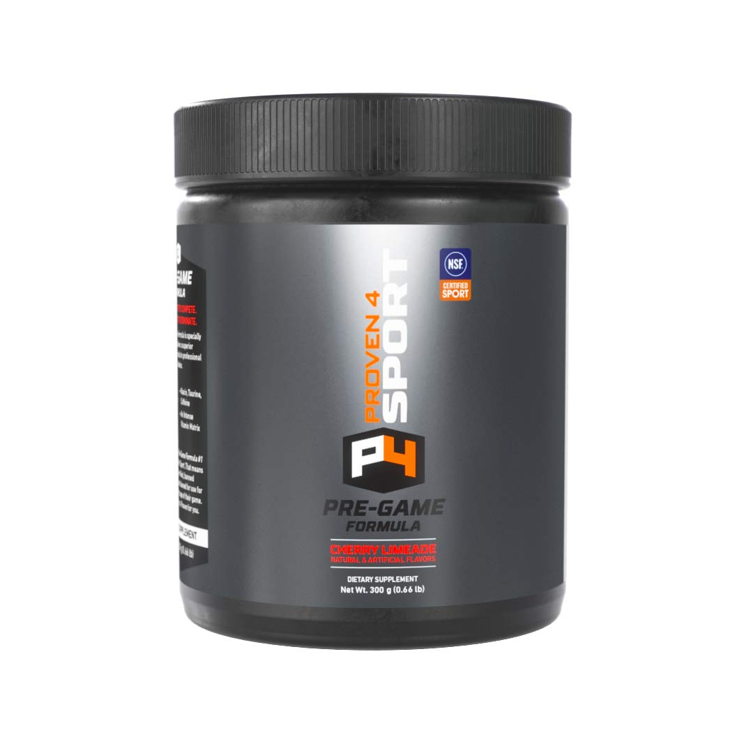 Proven4 preworkout for Men and Women with creatine and beta Alanine. NSF Certified Supplements for a Clean pre Workout Powder. Cherry Limeade 30 Servings
