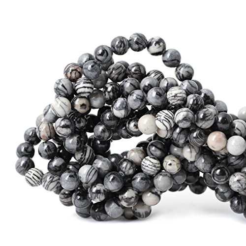- Qiwan 45PCS 8mm Black Network zebra Stripes Natural Stone Beads For Jewelry Making DIY Bracelet Necklace 1 Strand 15