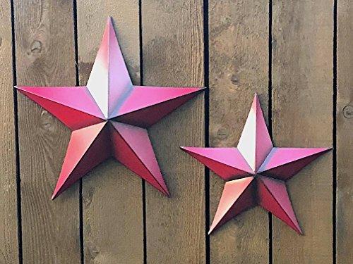 "D.I.D. Wall Décor 3D Metal Star Rustic House Barn Art Decoration Set of 2-18"" & 14"" (Red)"