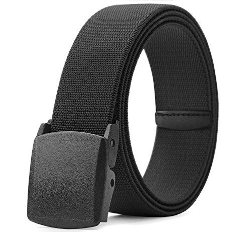 Men's Elastic Casual Belts Adjustable Stretch Jeans Belt Plastic Buckle Belts Outdoor Hiking Waist Belt for Men Designer Belts 38mm Wide Black 44 Inch ()