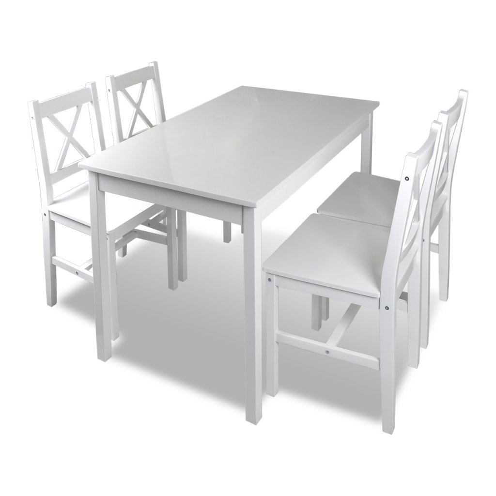 Daonanba Practical Dinning Table Set Wooden Table with 4 Wooden Chairs Furniture Set White Simple Elegance by Daonanba