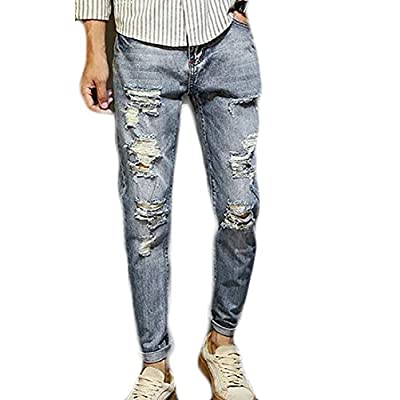 Discount Pivaconis Men's Ripped Skinny Distressed Destroyed Slim Fit Stretch Jeans Pants free shipping