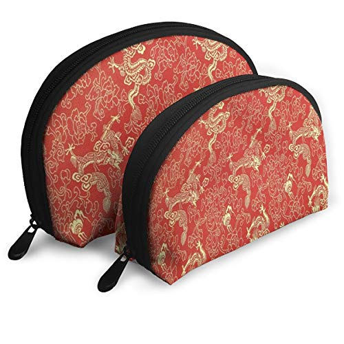 Makeup Bag Red Chinese Gold Dragon Portable Shell Clutch Pouch For Girls Halloween Gift Pack - 2 -