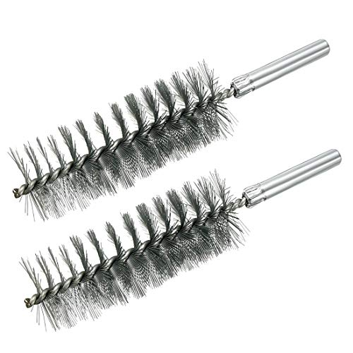 uxcell Steel Wire Tube Cleaning Brush 35mm Diameter 155mm Length 2pcs