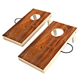 UKASE Solid Wood Cornhole Set Portable Bean Bags Toss Game with, Durable Wood Grain Printed Surface and Underneath for Indoor and Outdoor (Junior, Tailgate, Regulation)