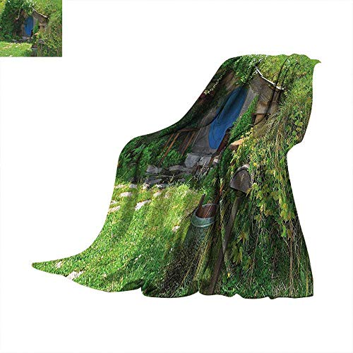 Hobbits Throw Blanket Fantasy Hobbit Land House in Magical Overhill Woods Movie Scene New Zealand Warm Microfiber All Season Blanket for Bed or Couch 50