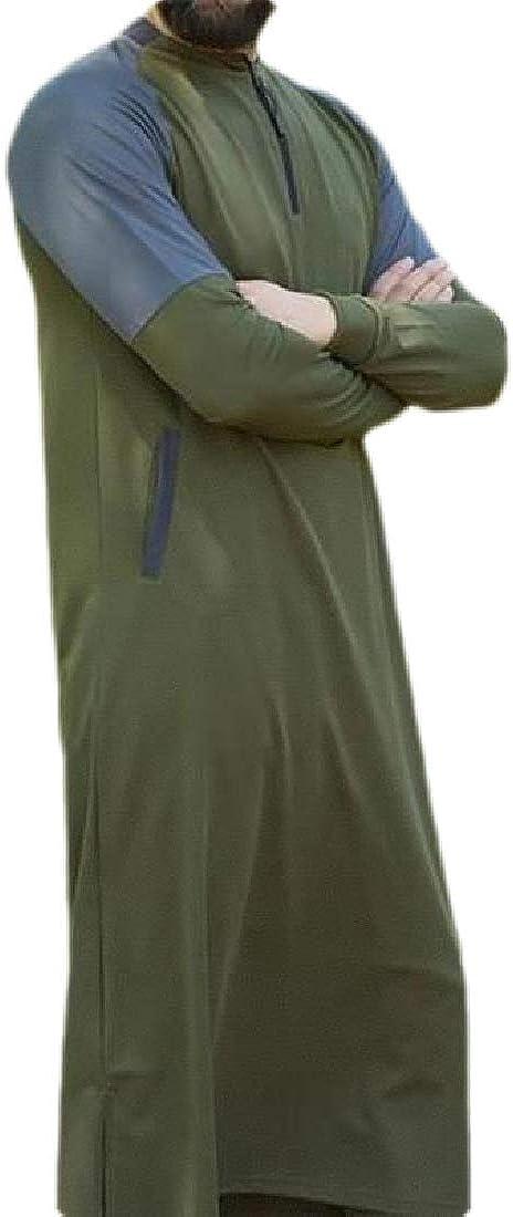 GRMO Men Contrast Color Arab Thobe Pockets Muslim Stylish Zipper Long Shirts