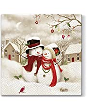 20 servetten sneeuwpop-feestjes/bomen/Kerstmis/winter 33 x 33 cm