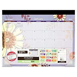 AT-A-GLANCE Monthly Desk Pad 2016, Flowers, 12 Months, 22 x 16.81 Inch Page Size (5035-16)