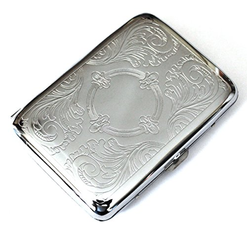 Classic Metallic Silver Color Double Sided King Cigarette Case Etched design ()