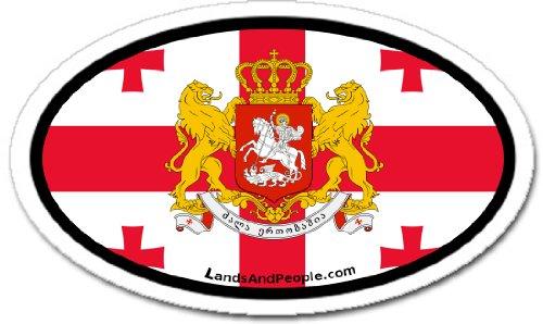 Flag Stickers Georgia (Georgia GE Sakartvelo Republic Europe Georgian Flag Car Bumper Sticker Decal Oval)