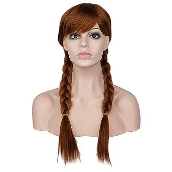 Jiafa La peluca adulta de Aisha y Anna Frozen Elsa, peluca cosplay con trenzas, puede ser teñida en caliente. (color : Anna 2 scorpions): Amazon.es: Hogar
