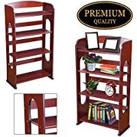 "GC Global Direct 41""H 4-Shelf Wood Bookshelf Bookcase Hollow Organizer Color Opt (Cherry Wood Color)"