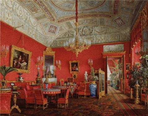 Oil Painting 'Hau Edward Petrovich,Interiors Of The Winter Palace,The Large Drawing Room Of Empress Alexand,Fyodorovna,1807-1887' 24 x 31 inch / 61 x 78 cm , Polyster Canva decoration