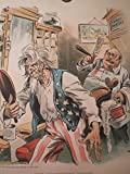 Uncle Sam and the Incompetent Barber - Uncle Sam in Political Barbershop - Uncle Sam Getting a Close Shave
