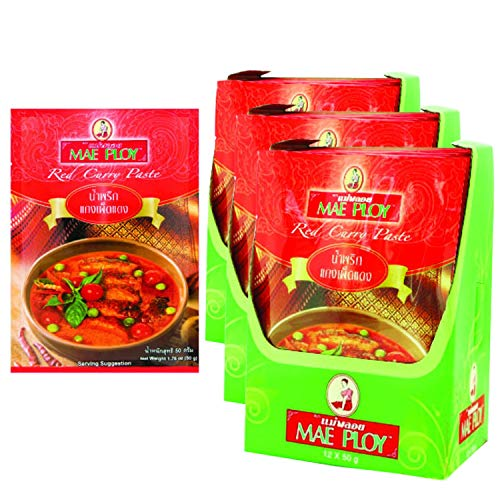 36 Pack MAE PLOY Thai Red Curry Paste แกงเผ็ดแดง 50 g. wholesale bulk pack