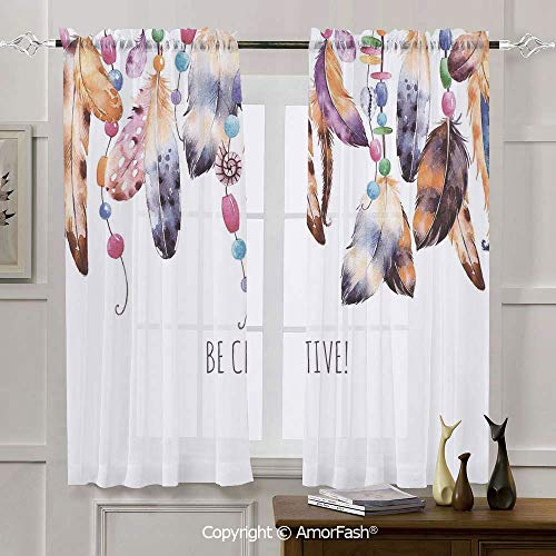 AmorFash Pearls Decoration Decorative Curtains Thermal Sheer Curtain Panels for Bedroom,2 Panels,42x45 Inch Be Creative Quote Watercolor Print Feathers and Beading Boho Style Home Decor