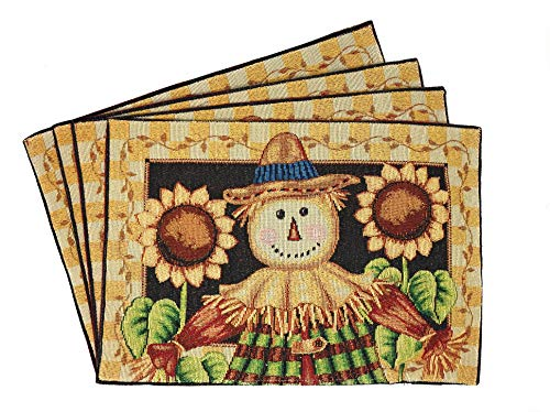 Tache Sunflower Field Scarecrow Thanksgiving Autumn Fall Harvest Country Farmhouse Vintage Black Gold Decorative Woven Tapestry Dining Table Kitchen Placemats, 13x19