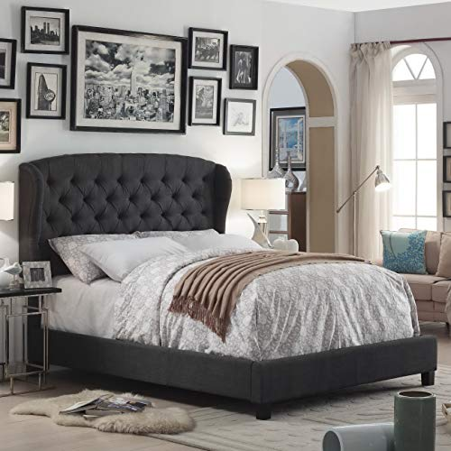 Rosevera Ralls Upholstered Panel Bed (King, Charcoal)