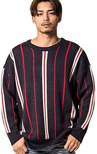 メンズ セーター ニット クルーネック ストライプ ジャガード編み 長袖 CAJP19-23【+】