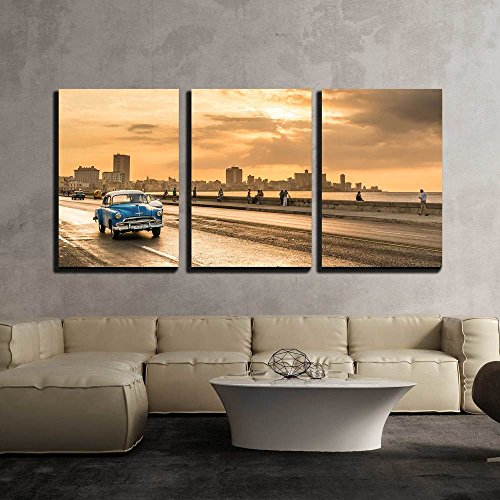 (wall26 - 3 Piece Canvas Wall Art - The Sun Setting Over The City of Havana with a View of The Malecon Avenue - Modern Home Decor Stretched and Framed Ready to Hang - 16