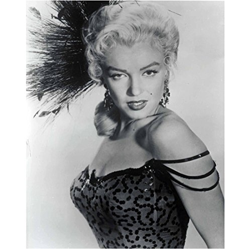 Marilyn Monroe Looking Serious Wearing Feathered Head Dress 8 x 10 Inch Photo (Marilyn Monroe The Prince And The Showgirl Dress)