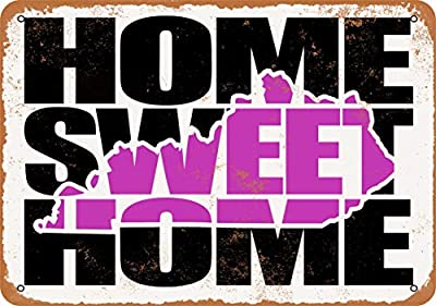 Wall-Color 10 x 14 Metal Sign - Home Sweet Home Kentucky Purple - Vintage Look