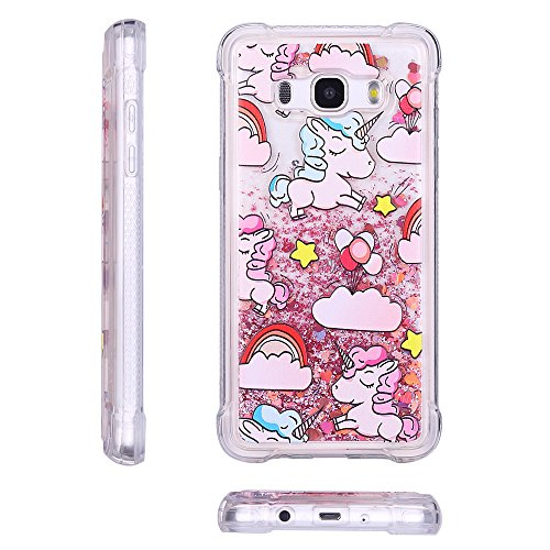 Funda para Samsung Galaxy J7 2016 Brillante, RosyHeart Ultra-fina Suave Transparente Carcasa con Glitter Bling Líquido Quicksand, Crystal Silicona Diseño creativo Protectora Cover Bumper [Mejorada Pro Unicornio