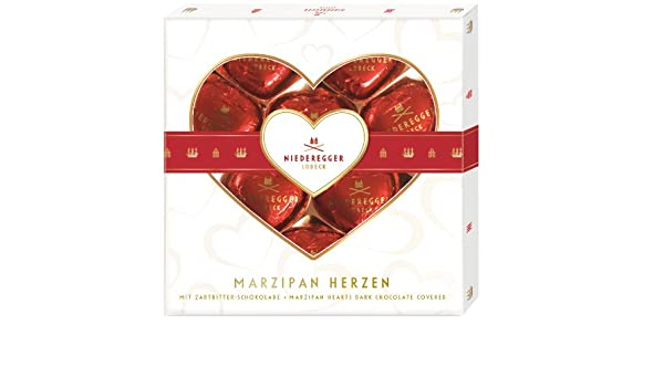 Amazon.com : Niederegger Chocolate Covered Marzipan Hearts (7) : Marzipan Paste : Grocery & Gourmet Food