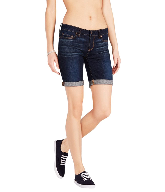 Aeropostale Women's Dark Wash Cuffed Denim Bermuda Shorts